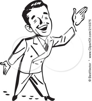 210375-Royalty-Free-RF-Clipart-Illustration-Of-A-Retro-Black-And-White-Businessman-Gesturing-Up-To-The-Right